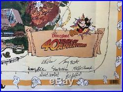 1995 Disneyland Map 40th Anniversary Signed by 6 Imagineers inc. Marc Davis