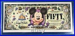 2 Sequential $50 Disney Dollar Bills Disneyland 50th Anniversary Uncirculated