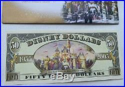$50 BOYER DISNEY DOLLAR 2005 50th Anniversary Collectible Disneyland Fifty
