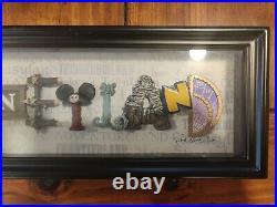 Disney DISNEYLAND Framed Icon Letters by Dave Avanzino 50th Anniversary