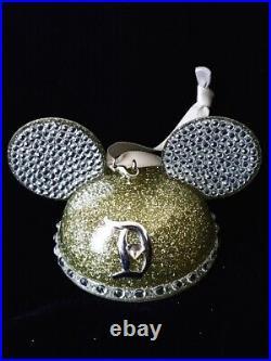 Disney Disneyland Jewel 60th Diamond Anniversary Mickey Ear Hat Ornament And Key