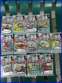 Disney Parks 65th Anniversary LE Pin Disneyland Attractions Set of 13 IN HAND