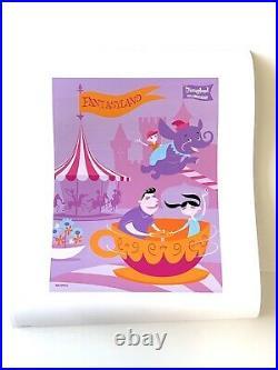 Disney Shag Disneyland 50th Anniversary Original Lands Print Set Of 5 15.5 X 20