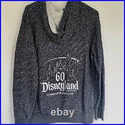 Disneyland 60th Diamond Anniversary Metallic Black Sparkle Hoodie Disney Size XL