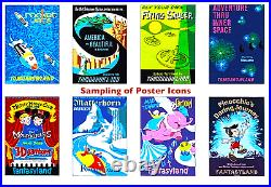 Disneyland Attraction Posters 15th Anniversary Framed Canvas 2002 DLR