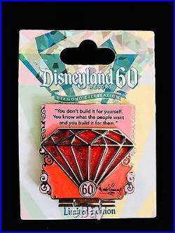 Disneyland Diamond Pin Set 60th Anniversary Celebration Complete Set Of 7 Pins