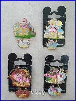 Disneyland Paris Pin Set of 4 Cheshire Cat Seasons 2017 20th Anniversary