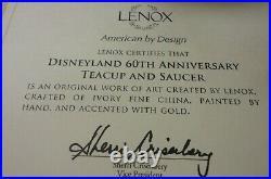 Lenox Disney DISNEYLAND 60TH ANNIVERSARY DIAMOND TEA CUP & SAUCER SET NEW