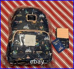 Loungefly Disneyland Map 65th Anniversary Convertible Backpack & Card Holder