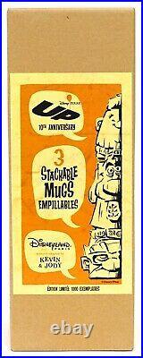 New Disneyland Paris UP 10th Anniversary Carl Dug Russel Stackable Tiki Mugs