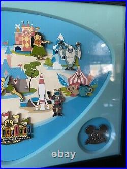 Rare Disneyland 50th Anniversary Shag Retro Map Framed Pin Set! 2005