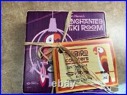 Set 4 Disney World Disneyland Enchanted Tiki Room 50th Anniversary Shag Coasters