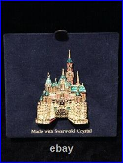 Swarovski Crystals Disneyland Sleeping Beauty Castle Brooch 50th Anniversary Pin