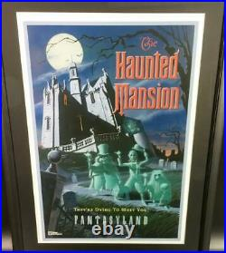 Tokyo Disneyland Haunted Mansion Poster 1st anniversary with frame Japan F/S
